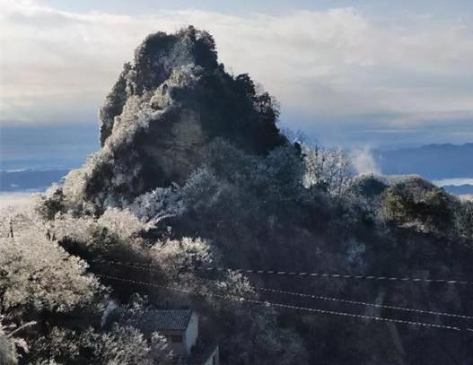 武当山下2020年的初雪了的雪后武当山的雾凇雪景1