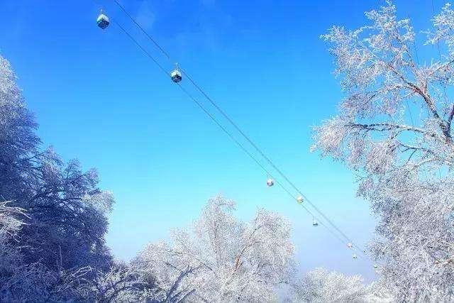 老君山冬天的索道美景