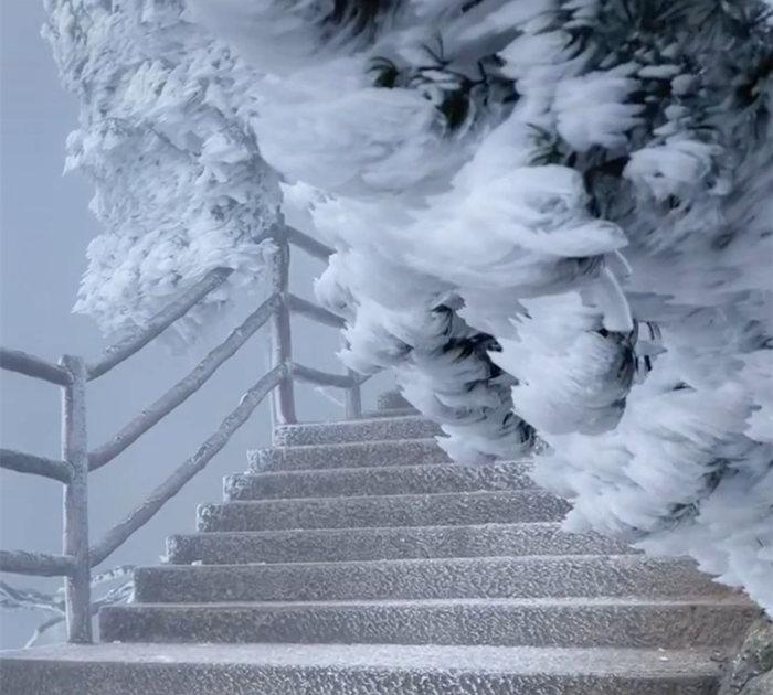 五指峰上如冰雕一般的雾凇雪景
