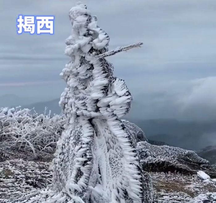 广东揭西的雾凇雪景