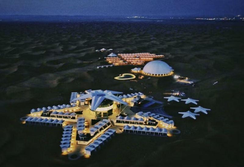 中卫星星沙漠酒店夜景
